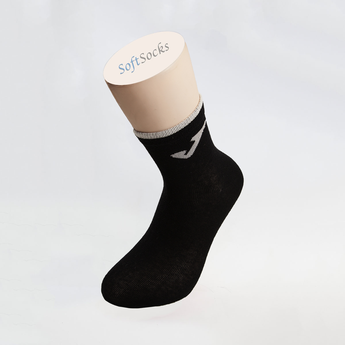 Solid Color Plain Socks with Logo